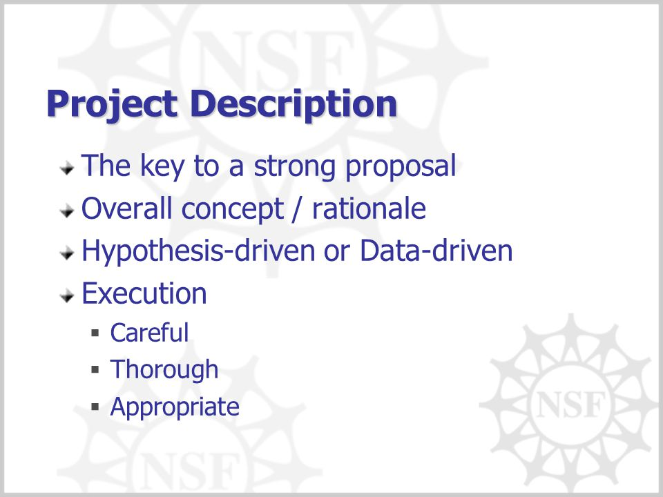 Project Description The key to a strong proposal Overall concept / rationale Hypothesis-driven or Data-driven Execution  Careful  Thorough  Appropr