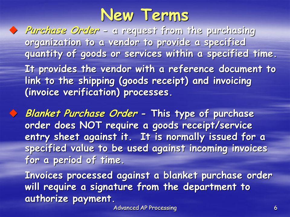 Advanced AP Processing27 AP/AR Document Types/Ranges DescriptionDoc Type Start Doc # Range End Doc # Range Asset postingAA01000000000199999999 Customer document reversalDA07000000000799999999 Customer credit memoDG16000000001699999999 Customer invoiceDR18000000001899999999 Vendor document reversalKA800000000899999999 Vendor credit memoKG17000000001799999999 Vendor invoiceKR19000000001999999999 Vendor payment (Payment through F-58) KZ15000000001599999999 Invoice - grossRE51000000005199999999 Goods receiptWE50000000005099999999 Recurring Customer InvoiceZI21000000002199999999 Recurring Vendor InvoiceZL26000000002699999999 Payment PostingZP20000000002099999999