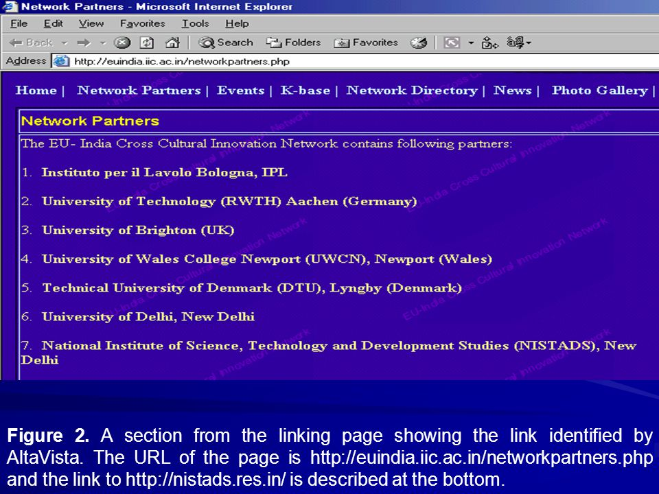 Figure 2. A section from the linking page showing the link identified by AltaVista.