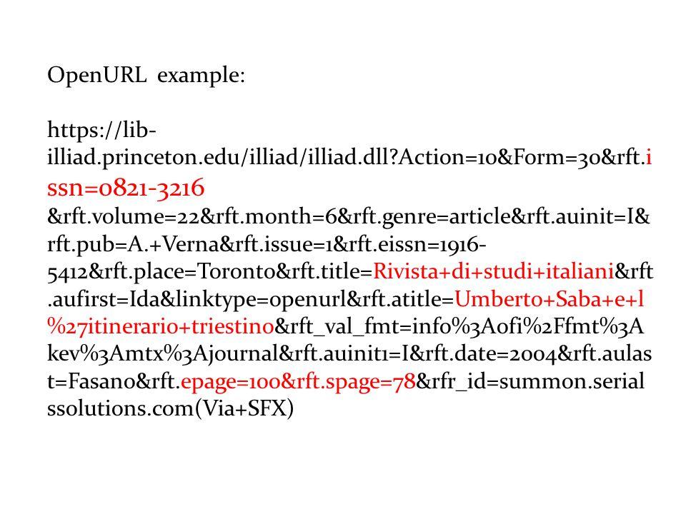 OpenURL example: https://lib- illiad.princeton.edu/illiad/illiad.dll?Action=10&Form=30&rft.i ssn=0821-3216 &rft.volume=22&rft.month=6&rft.genre=article&rft.auinit=I& rft.pub=A.+Verna&rft.issue=1&rft.eissn=1916- 5412&rft.place=Toronto&rft.title=Rivista+di+studi+italiani&rft.aufirst=Ida&linktype=openurl&rft.atitle=Umberto+Saba+e+l %27itinerario+triestino&rft_val_fmt=info%3Aofi%2Ffmt%3A kev%3Amtx%3Ajournal&rft.auinit1=I&rft.date=2004&rft.aulas t=Fasano&rft.epage=100&rft.spage=78&rfr_id=summon.serial ssolutions.com(Via+SFX)