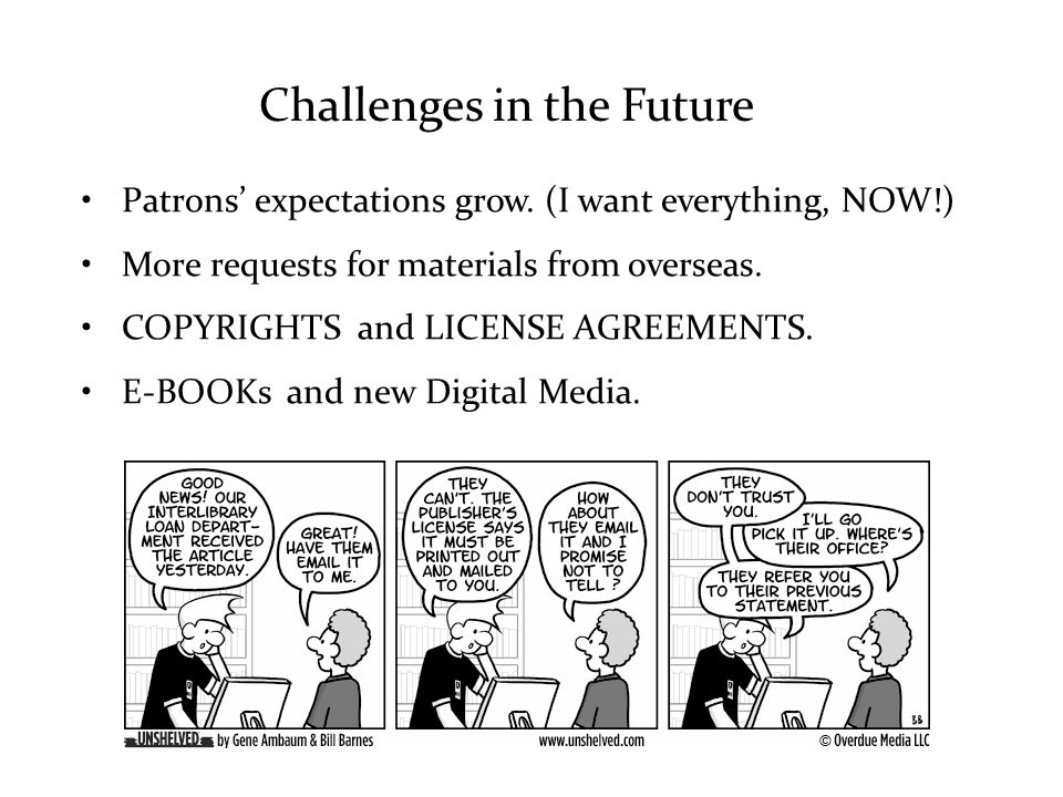 Challenges in the Future Patrons' expectations grow.