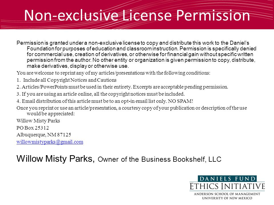 Non-exclusive License Permission Permission is granted under a non-exclusive license to copy and distribute this work to the Daniel's Foundation for purposes of education and classroom instruction.