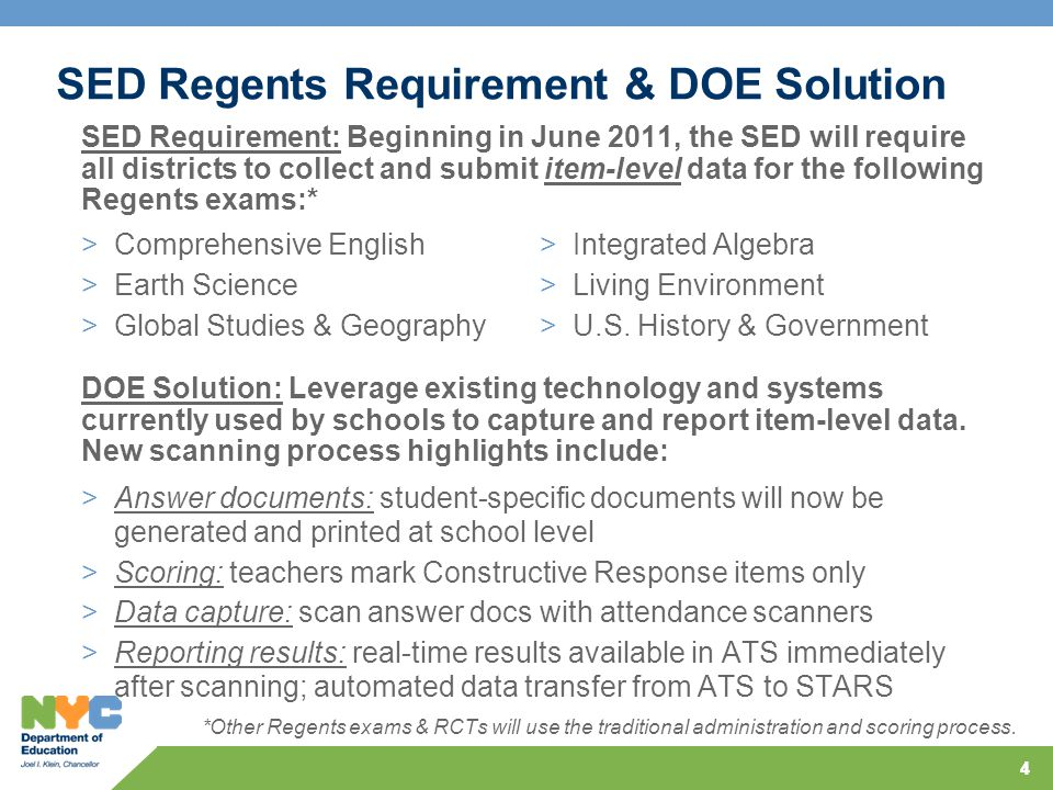 44 SED Regents Requirement & DOE Solution >Comprehensive English >Earth Science >Global Studies & Geography >Integrated Algebra >Living Environment >U.S.