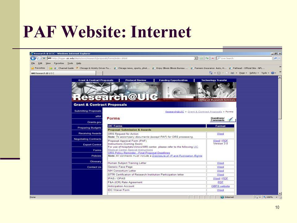 10 PAF Website: Internet