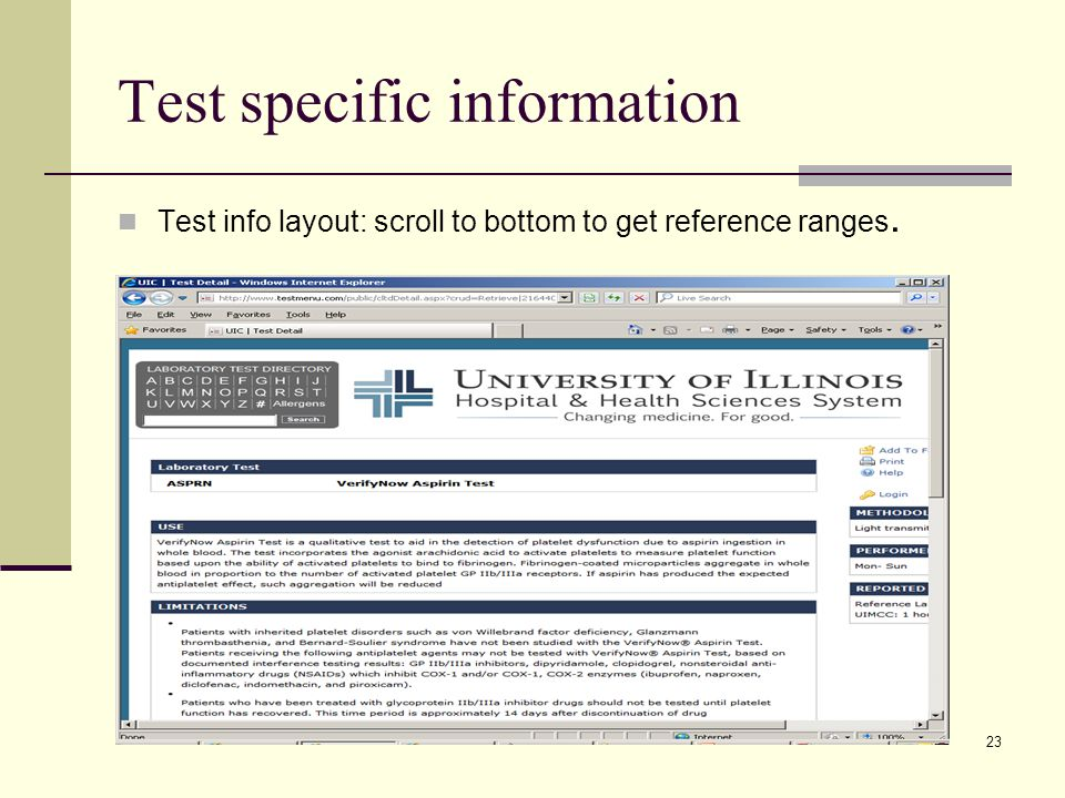 Test specific information Test info layout: scroll to bottom to get reference ranges. 23
