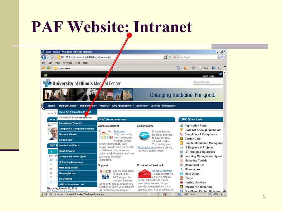 9 PAF Website: Intranet