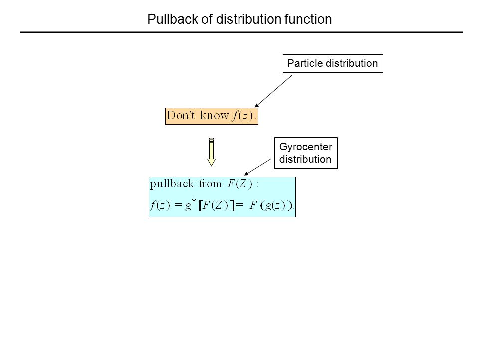 Pullback of distribution function Particle distribution Gyrocenter distribution