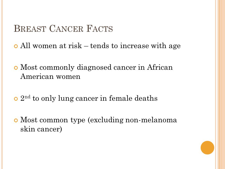 B REAST C ANCER F ACTS All women at risk – tends to increase with age Most commonly diagnosed cancer in African American women 2 nd to only lung cancer in female deaths Most common type (excluding non-melanoma skin cancer)