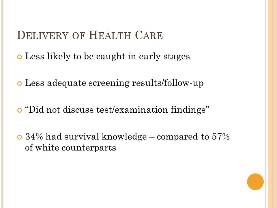 D ELIVERY OF H EALTH C ARE Less likely to be caught in early stages Less adequate screening results/follow-up Did not discuss test/examination findings 34% had survival knowledge – compared to 57% of white counterparts