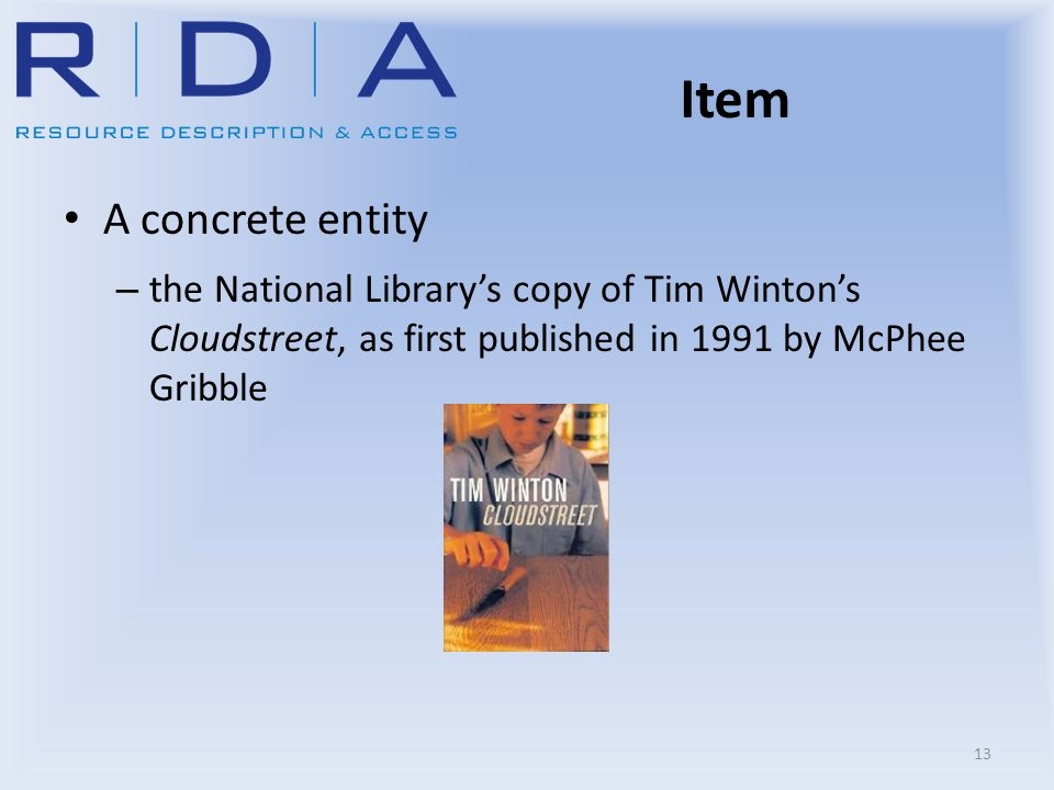 Item A concrete entity – the National Library's copy of Tim Winton's Cloudstreet, as first published in 1991 by McPhee Gribble 13