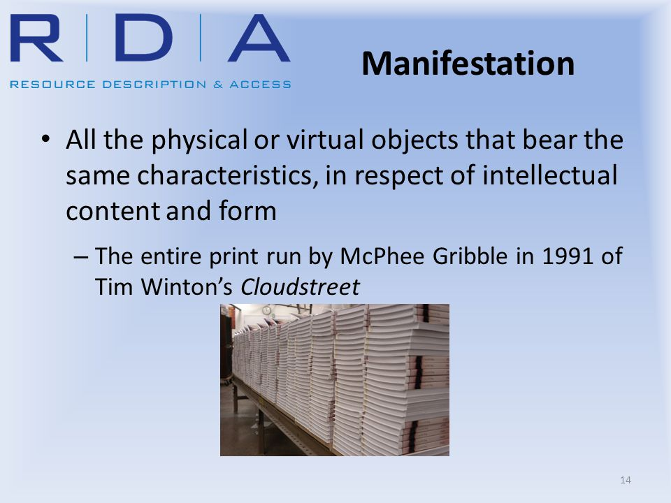 Manifestation All the physical or virtual objects that bear the same characteristics, in respect of intellectual content and form – The entire print r