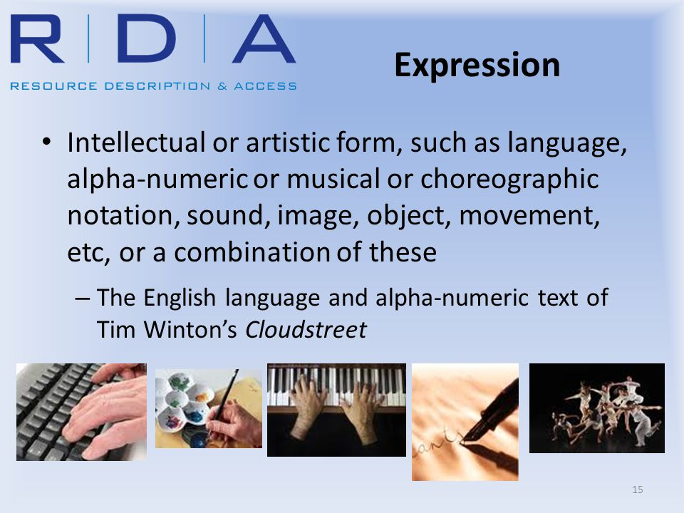 Expression Intellectual or artistic form, such as language, alpha-numeric or musical or choreographic notation, sound, image, object, movement, etc, o