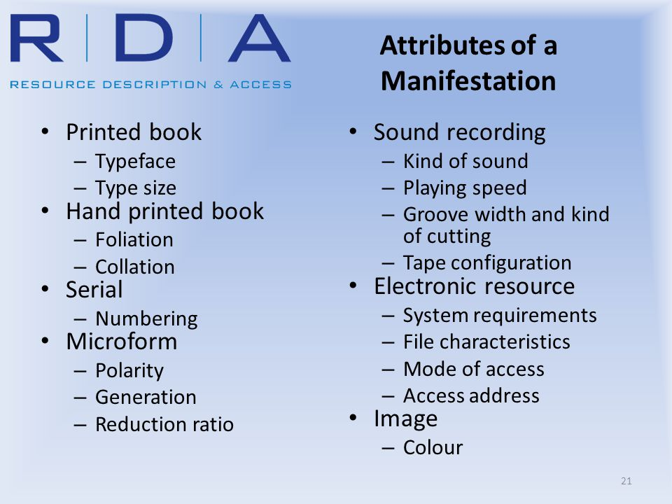 Attributes of a Manifestation Printed book – Typeface – Type size Hand printed book – Foliation – Collation Serial – Numbering Microform – Polarity –