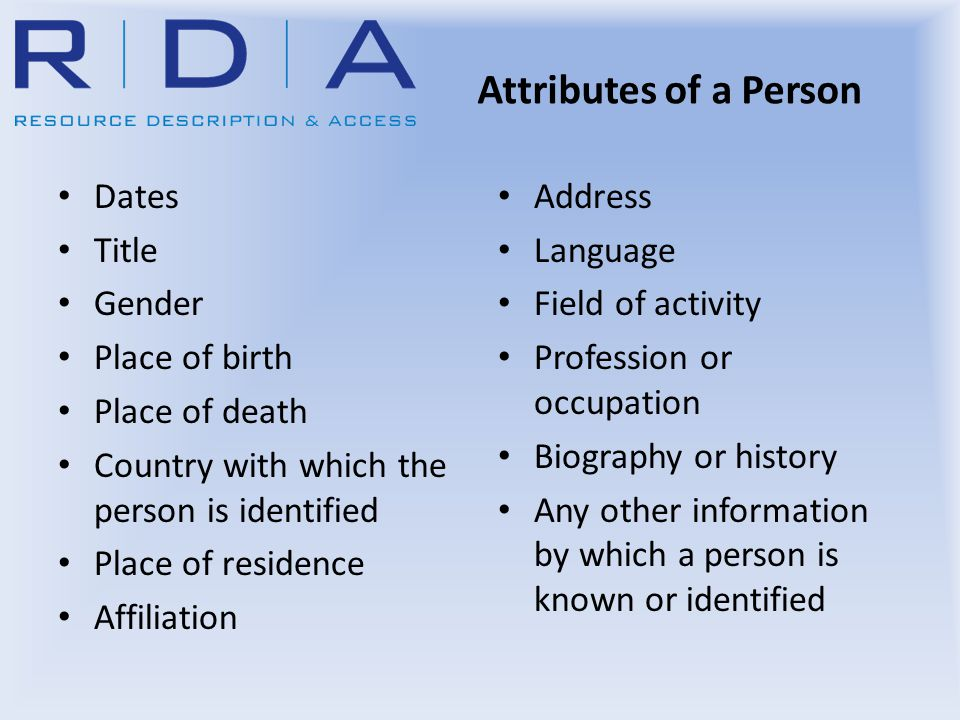 Attributes of a Person Dates Title Gender Place of birth Place of death Country with which the person is identified Place of residence Affiliation Add