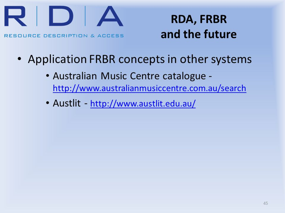 RDA, FRBR and the future Application FRBR concepts in other systems Australian Music Centre catalogue - http://www.australianmusiccentre.com.au/search