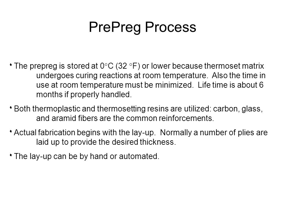 ۰ The prepreg is stored at 0  C (32  F) or lower because thermoset matrix undergoes curing reactions at room temperature. Also the time in use at ro