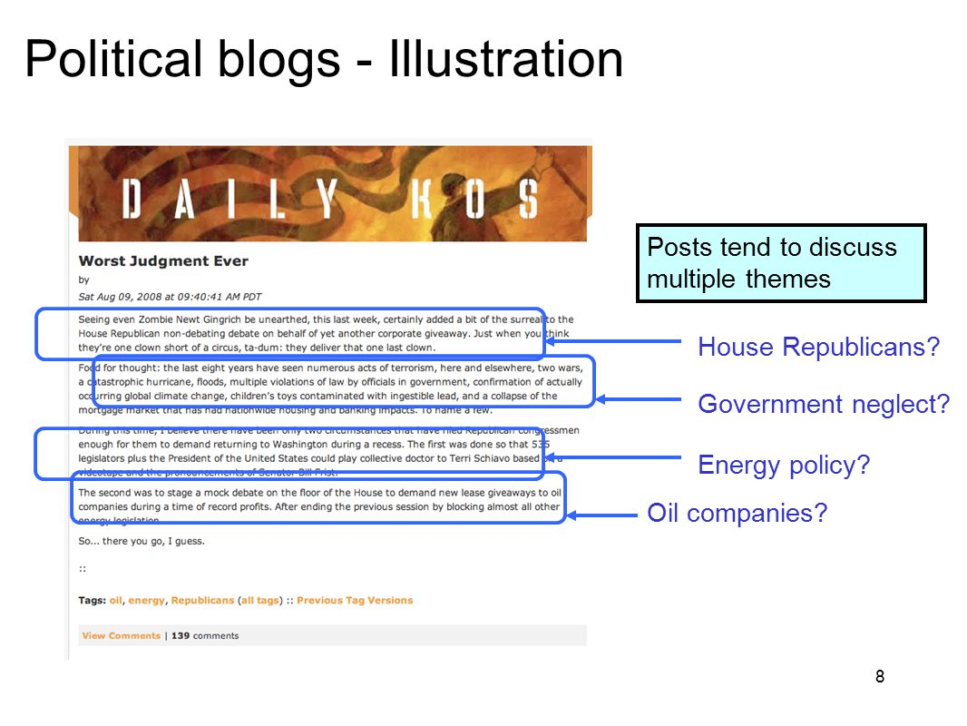 8 Political blogs - Illustration Posts tend to discuss multiple themes House Republicans? Government neglect? Oil companies? Energy policy?