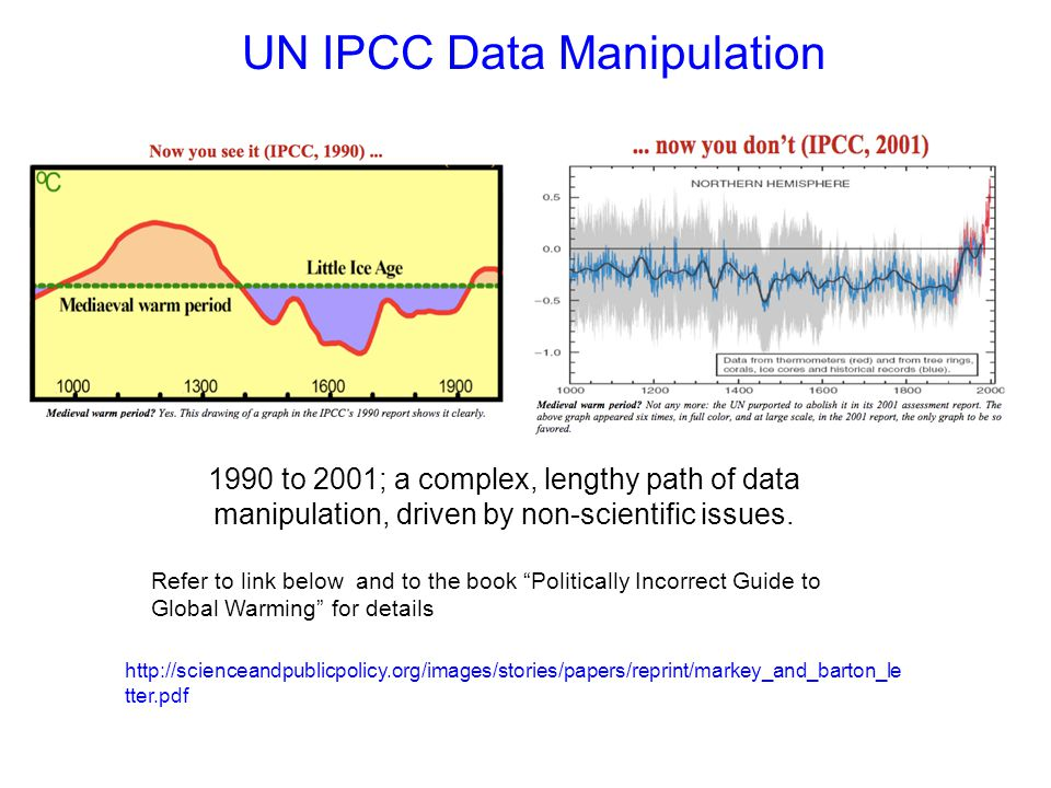 UN IPCC Data Manipulation http://scienceandpublicpolicy.org/images/stories/papers/reprint/markey_and_barton_le tter.pdf 1990 to 2001; a complex, lengthy path of data manipulation, driven by non-scientific issues.