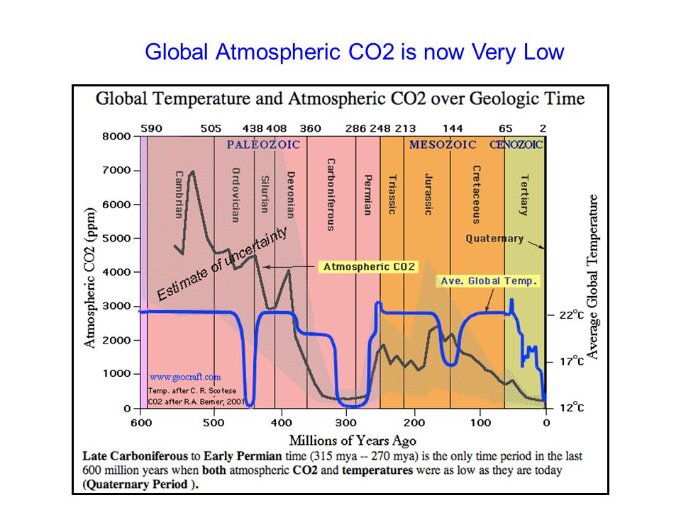 Global Atmospheric CO2 is now Very Low