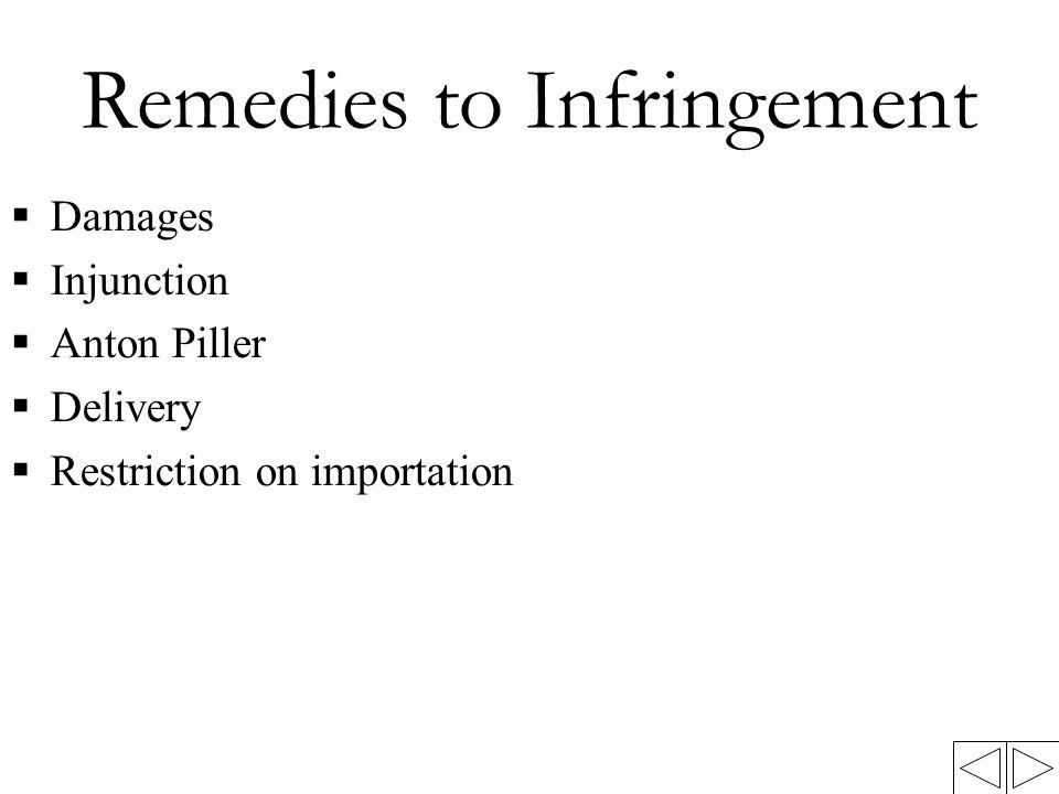 Remedies to Infringement  Damages  Injunction  Anton Piller  Delivery  Restriction on importation