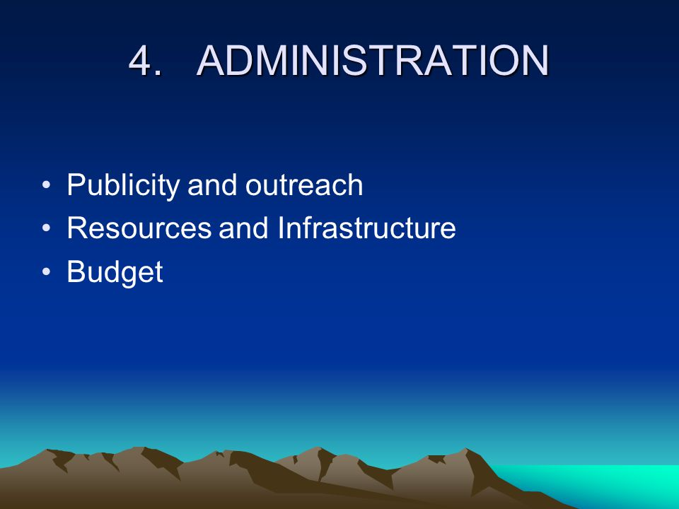 4.ADMINISTRATION Publicity and outreach Resources and Infrastructure Budget