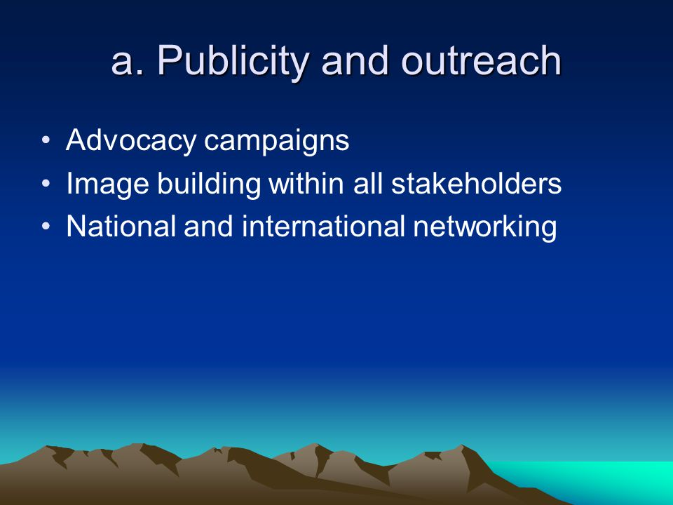 a. Publicity and outreach Advocacy campaigns Image building within all stakeholders National and international networking
