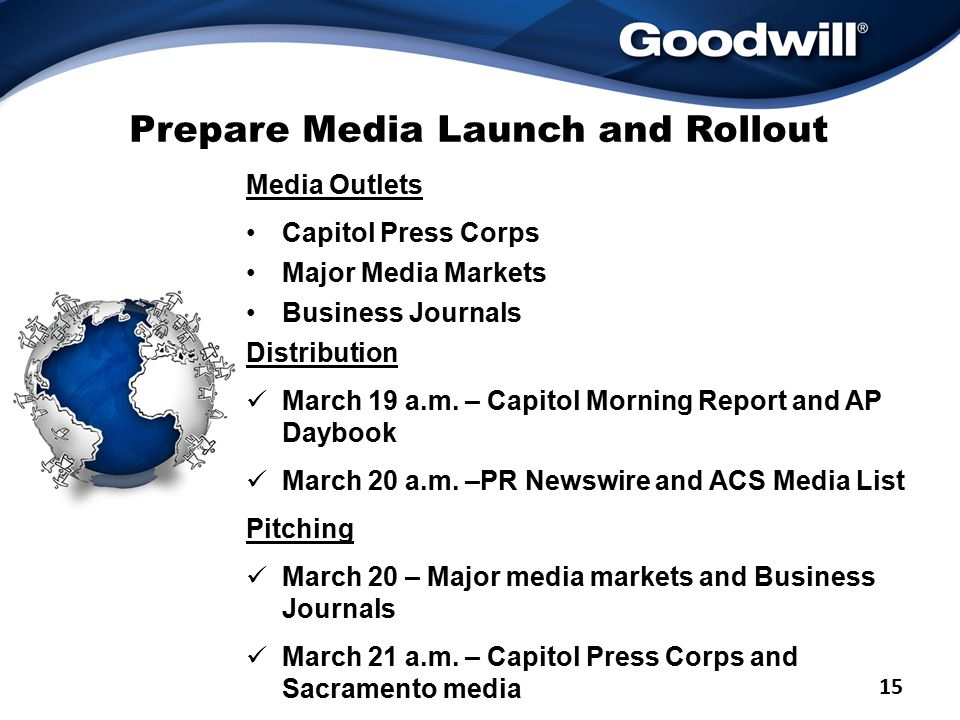 Prepare Media Launch and Rollout Media Outlets Capitol Press Corps Major Media Markets Business Journals Distribution March 19 a.m.