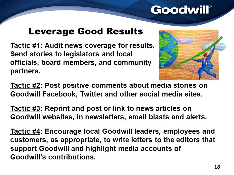 Leverage Good Results Tactic #1: Audit news coverage for results.