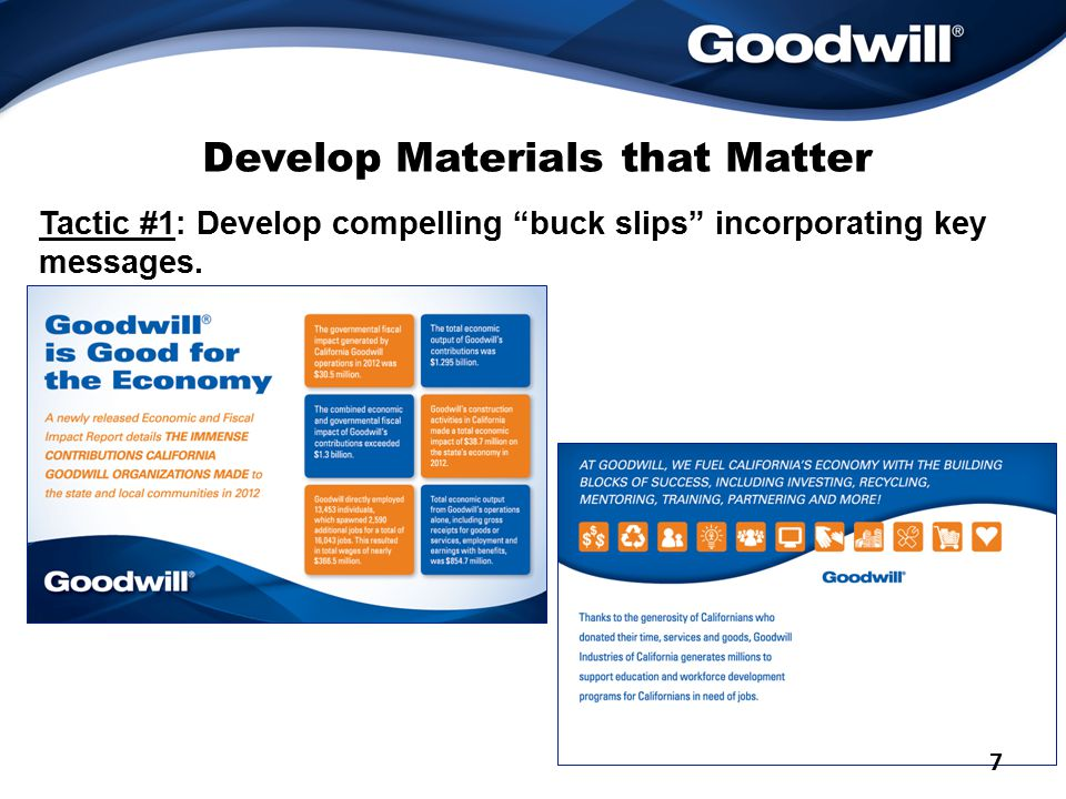 Develop Materials that Matter Tactic #1: Develop compelling buck slips incorporating key messages.
