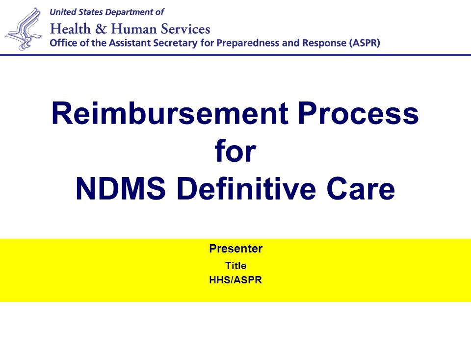 1 Definitive Care Definitive Care: Medical treatment or services or beyond emergency medical care, initiated upon inpatient admission to a NDMS hospital and provided for illnesses and injuries resulting directly from a specified public health emergency, or for injury, illnesses, conditions requiring non-deferrable medical treatment or services to maintain health when such medical treatment or services are temporarily not available as a result of the public health emergency.