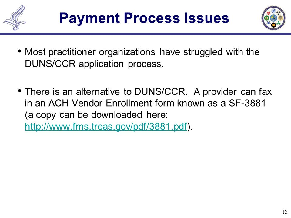 12 Payment Process Issues Most practitioner organizations have struggled with the DUNS/CCR application process. There is an alternative to DUNS/CCR. A