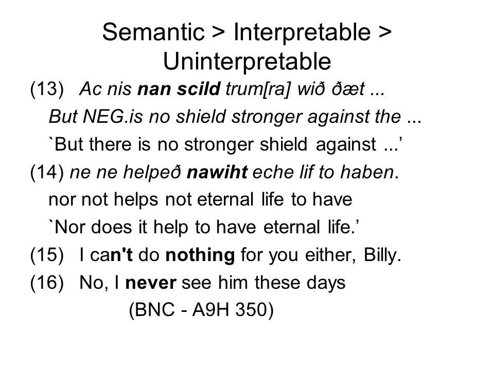 Semantic > Interpretable > Uninterpretable (13)Ac nis nan scild trum[ra] wið ðæt... But NEG.is no shield stronger against the... `But there is no stro
