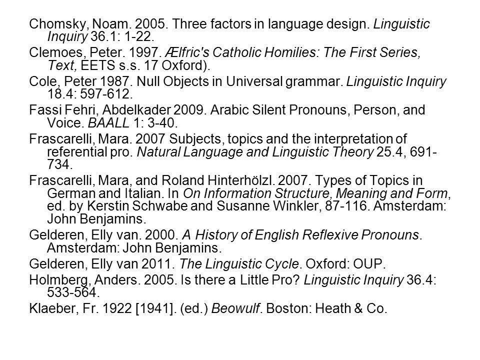 Chomsky, Noam. 2005. Three factors in language design.