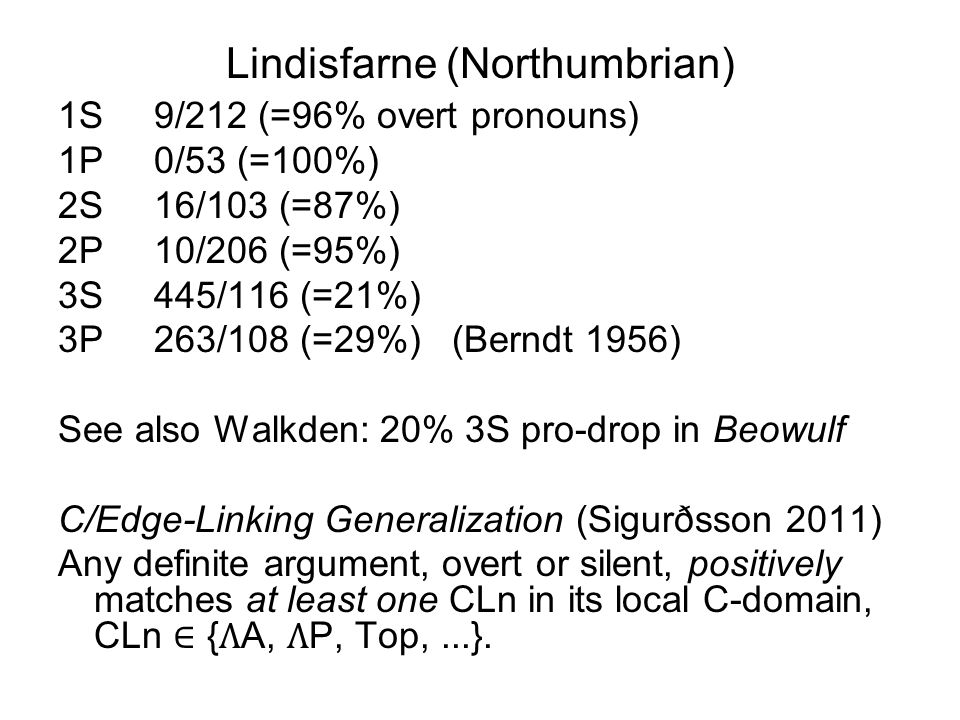 Lindisfarne (Northumbrian) 1S9/212 (=96% overt pronouns) 1P0/53 (=100%) 2S16/103 (=87%) 2P10/206 (=95%) 3S445/116 (=21%) 3P263/108 (=29%) (Berndt 1956) See also Walkden: 20% 3S pro-drop in Beowulf C/Edge-Linking Generalization (Sigurðsson 2011) Any definite argument, overt or silent, positively matches at least one CLn in its local C-domain, CLn ∈ {A, P, Top,...}.