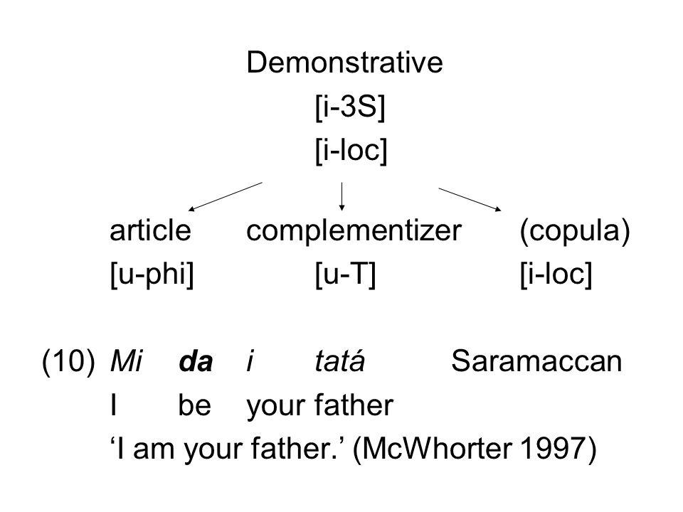 Demonstrative [i-3S] [i-loc] articlecomplementizer(copula) [u-phi][u-T] [i-loc] (10)Mida i tatáSaramaccan I be yourfather 'I am your father.' (McWhort