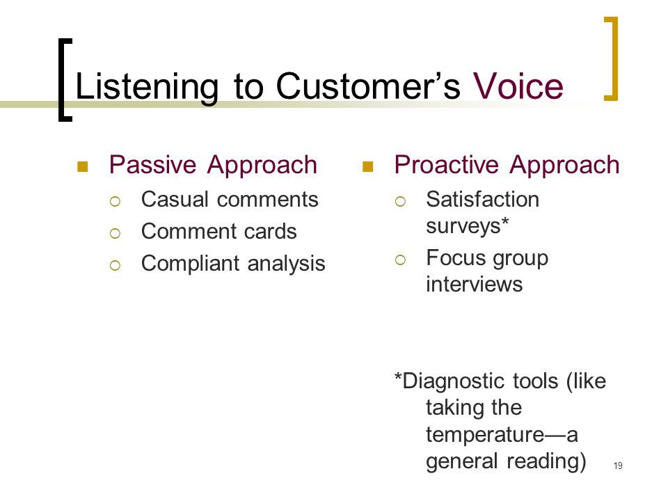 19 Listening to Customer's Voice Passive Approach  Casual comments  Comment cards  Compliant analysis Proactive Approach  Satisfaction surveys*  Focus group interviews *Diagnostic tools (like taking the temperature―a general reading)