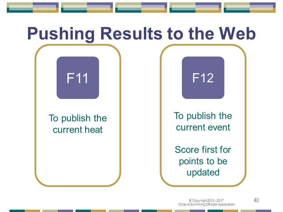 © Copyright 2013 - 2017 Ontario Swimming Officials' Association 40 Pushing Results to the Web F11 F12 To publish the current heat To publish the curre