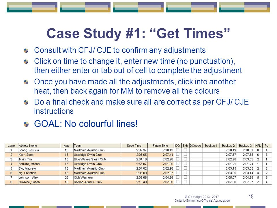 "© Copyright 2013 - 2017 Ontario Swimming Officials' Association 48 Case Study #1: ""Get Times"" Consult with CFJ/ CJE to confirm any adjustments Click o"