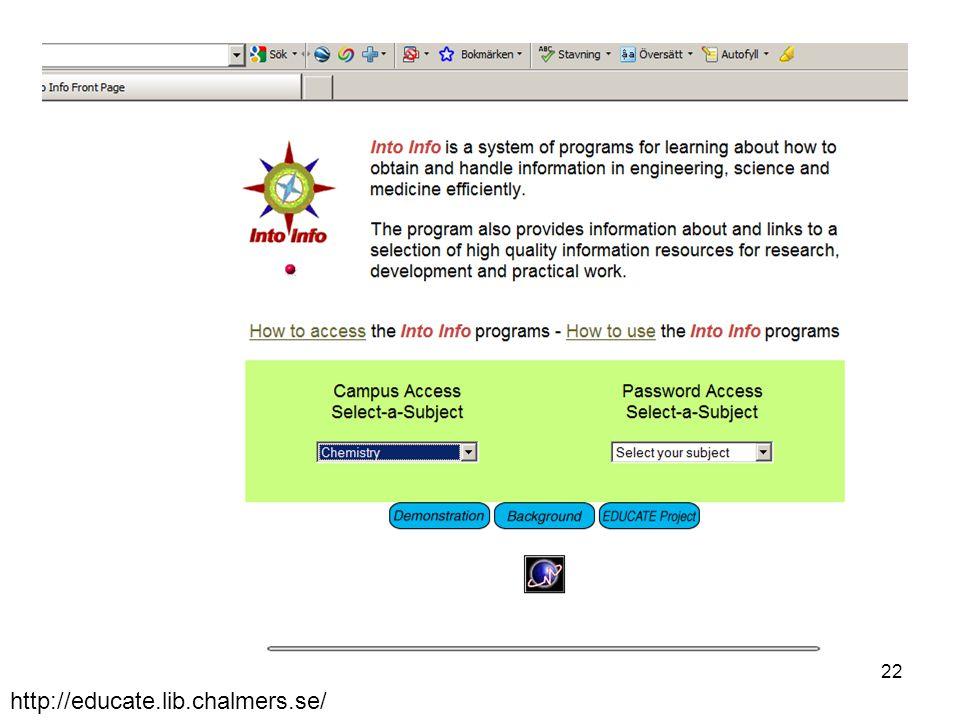 http://educate.lib.chalmers.se/ 22