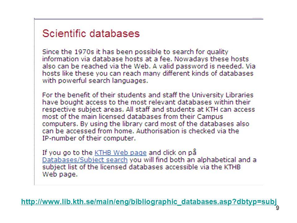 http://www.lib.kth.se/main/eng/bibliographic_databases.asp dbtyp=subj 9