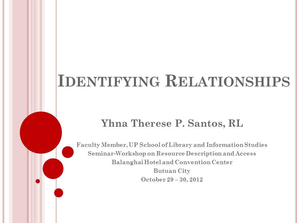 R ELATIONSHIPS Identifying Relationships Recording Relationships RDA Module 5