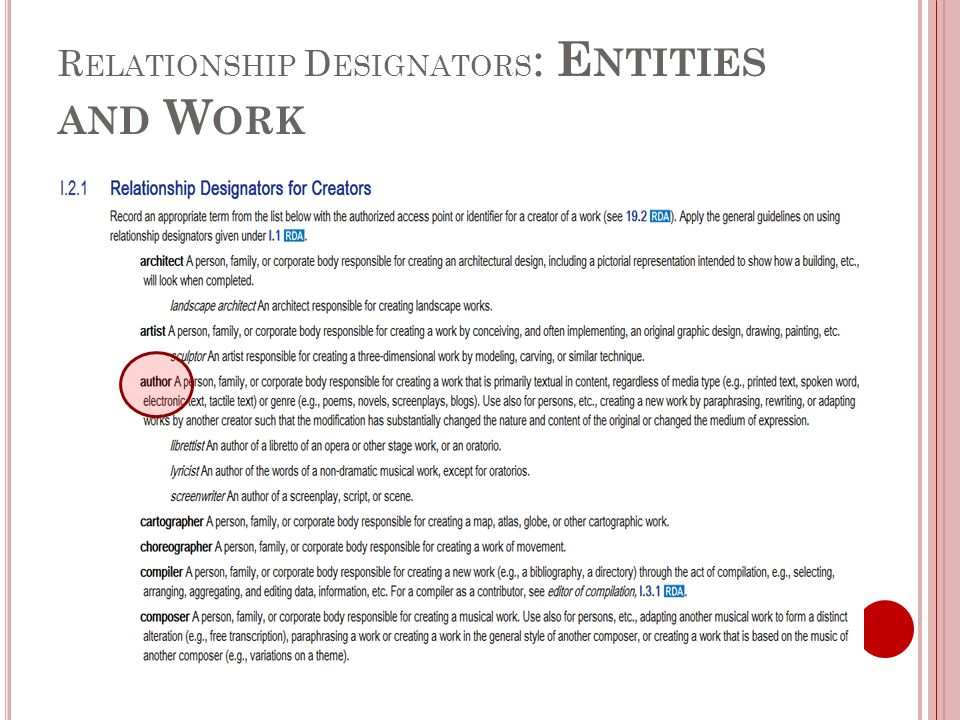 R ELATIONSHIP D ESIGNATORS : E NTITIES AND W ORK