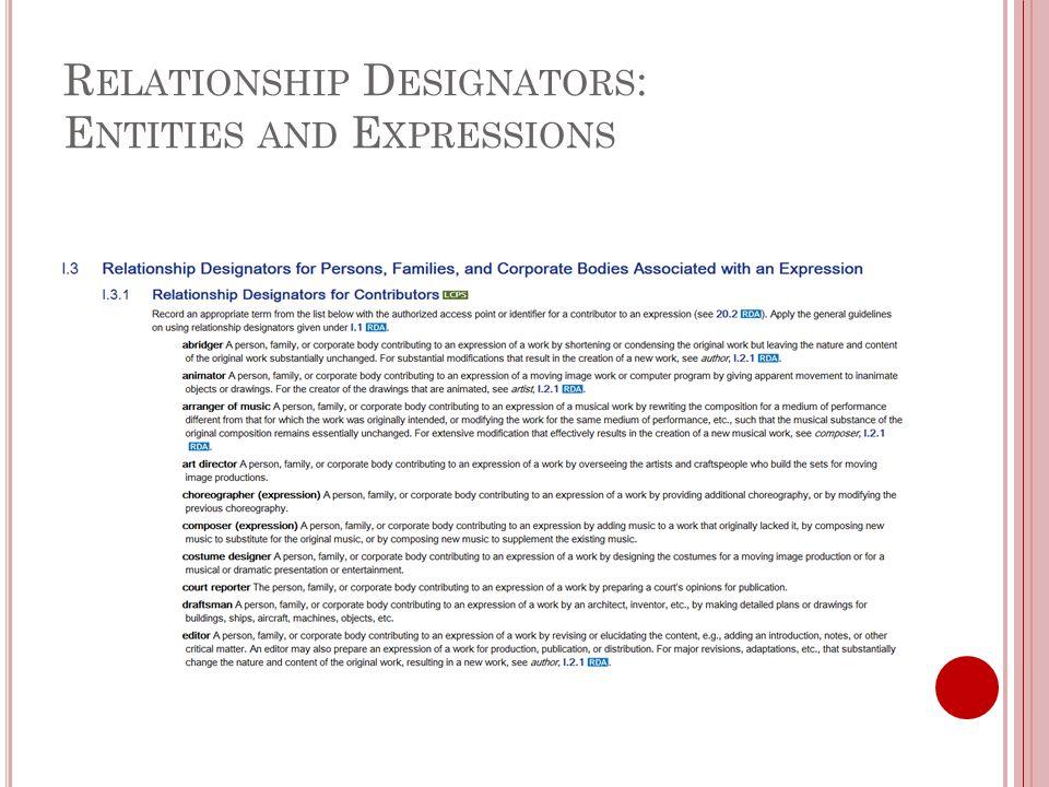 R ELATIONSHIP D ESIGNATORS : E NTITIES AND E XPRESSIONS