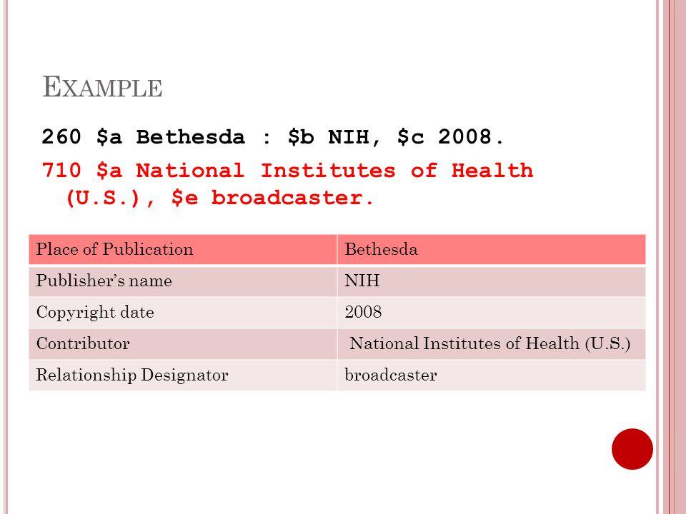 E XAMPLE 260 $a Bethesda : $b NIH, $c 2008.