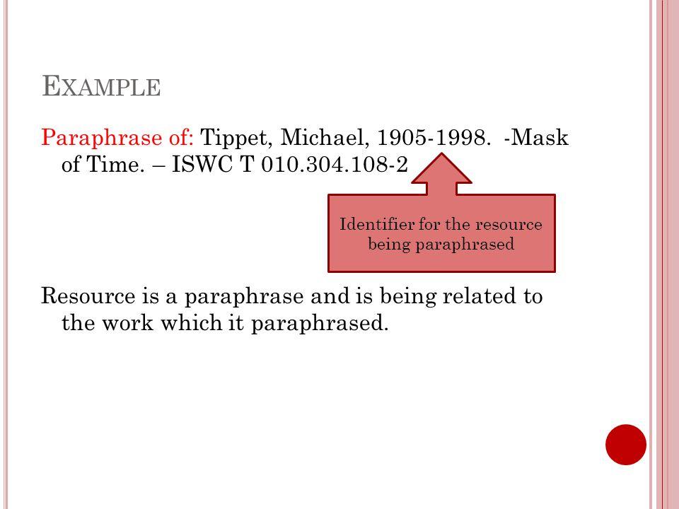 E XAMPLE Paraphrase of: Tippet, Michael, 1905-1998.