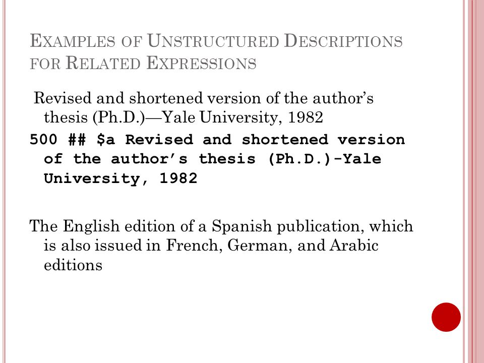 E XAMPLES OF U NSTRUCTURED D ESCRIPTIONS FOR R ELATED E XPRESSIONS Revised and shortened version of the author's thesis (Ph.D.)—Yale University, 1982 500 ## $a Revised and shortened version of the author's thesis (Ph.D.)-Yale University, 1982 The English edition of a Spanish publication, which is also issued in French, German, and Arabic editions