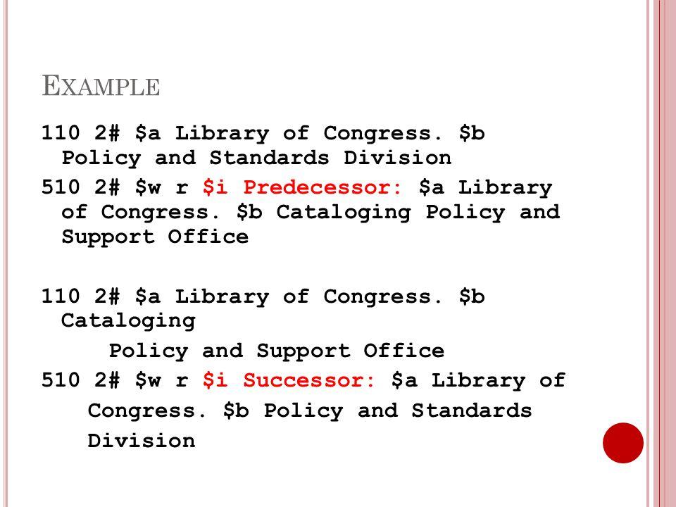 E XAMPLE 110 2# $a Library of Congress.