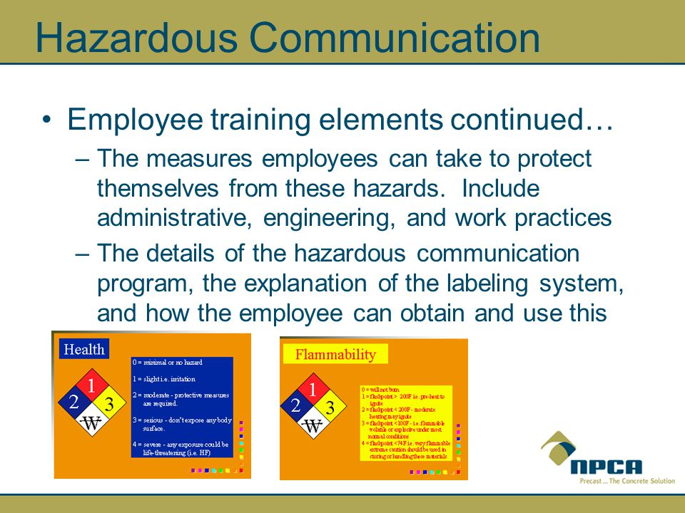 Hazardous Communication Employee training elements continued… –The measures employees can take to protect themselves from these hazards.