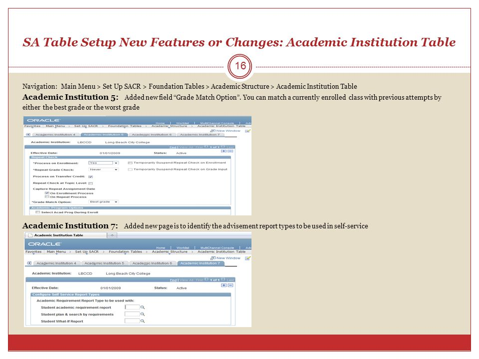 SA Table Setup New Features or Changes: Academic Institution Table Navigation: Main Menu > Set Up SACR > Foundation Tables > Academic Structure > Acad