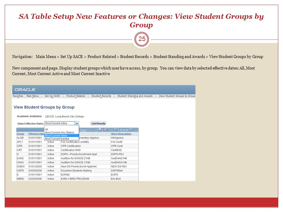 SA Table Setup New Features or Changes: View Student Groups by Group Navigation: Main Menu > Set Up SACR > Product Related > Student Records > Student